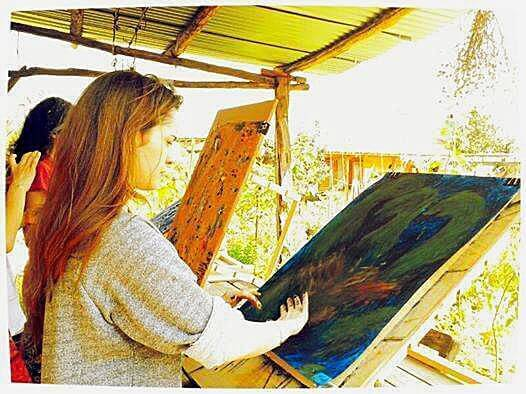 Painting under the pergola, Yeniköy 2014