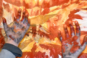 Hands of Mr. A, 9 years old were artworks themselves! He did not want to wash them afterwards.